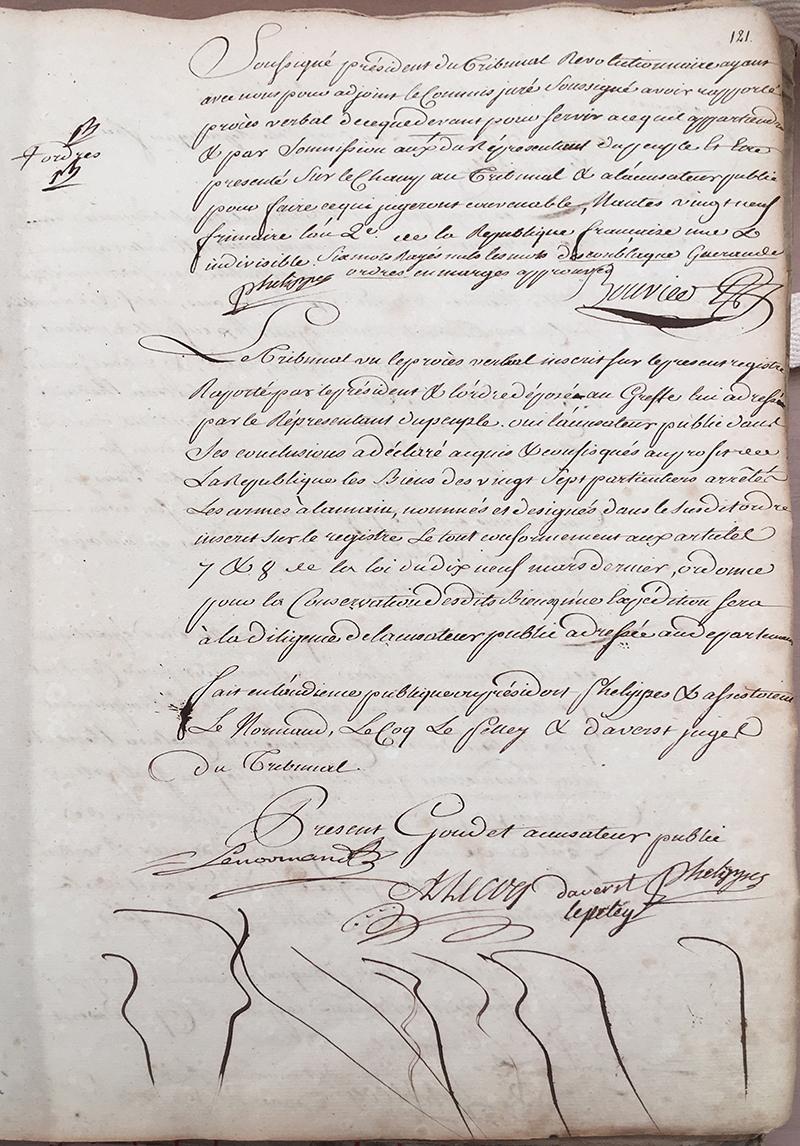ADLA 1 J 746, Registre des jugements du Tribunal criminel révolutionnaire de Nantes