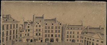 Place du Bouffay, ancienne Monnaie démolie, début du 19e siècle, Lavis à l'encre de chine, 30.2 x 47.9, Musée Dobrée, inv.903.2.16